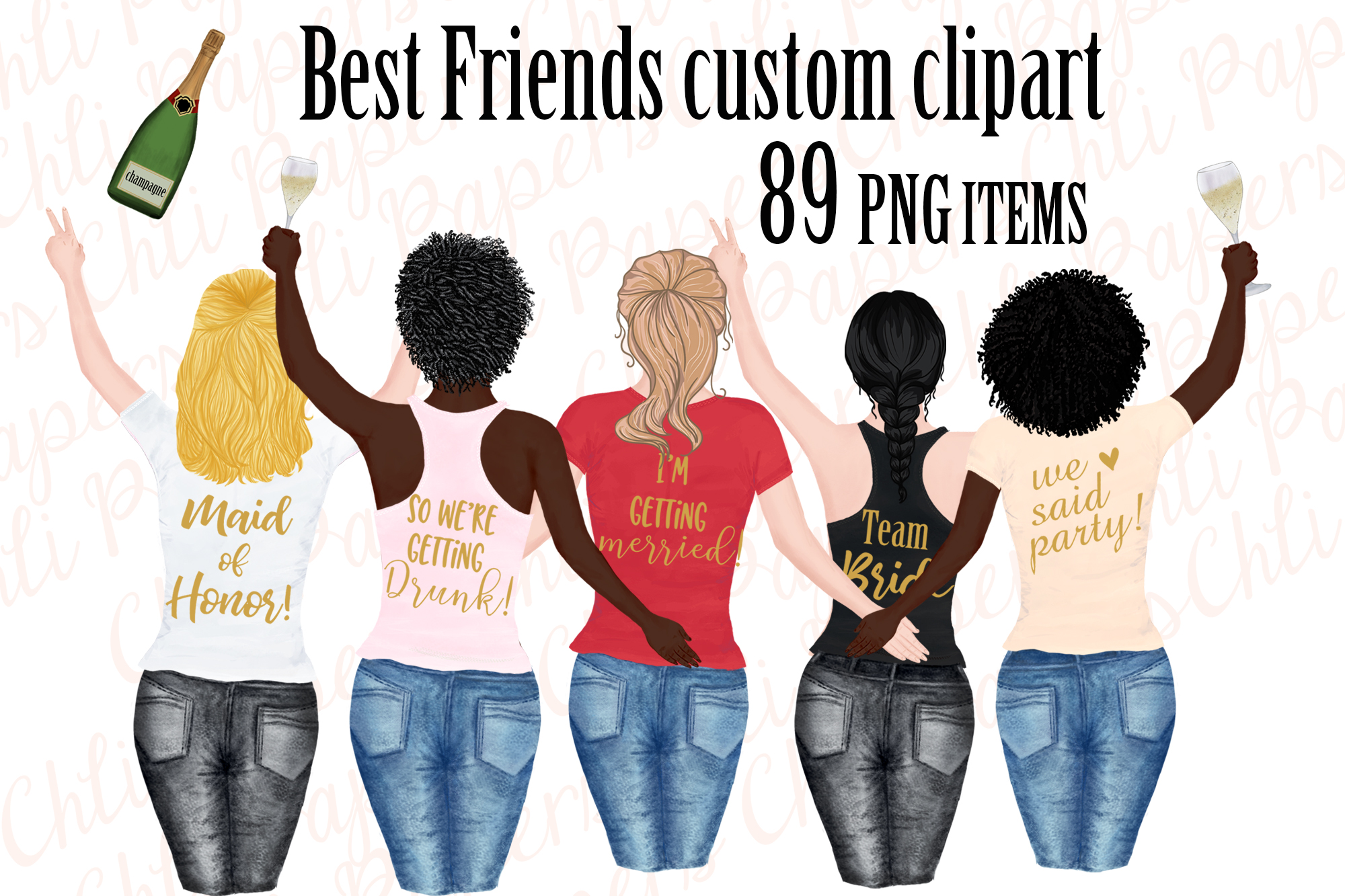 Girl best friend clipart, Bachelorette party girls clipart example image 1