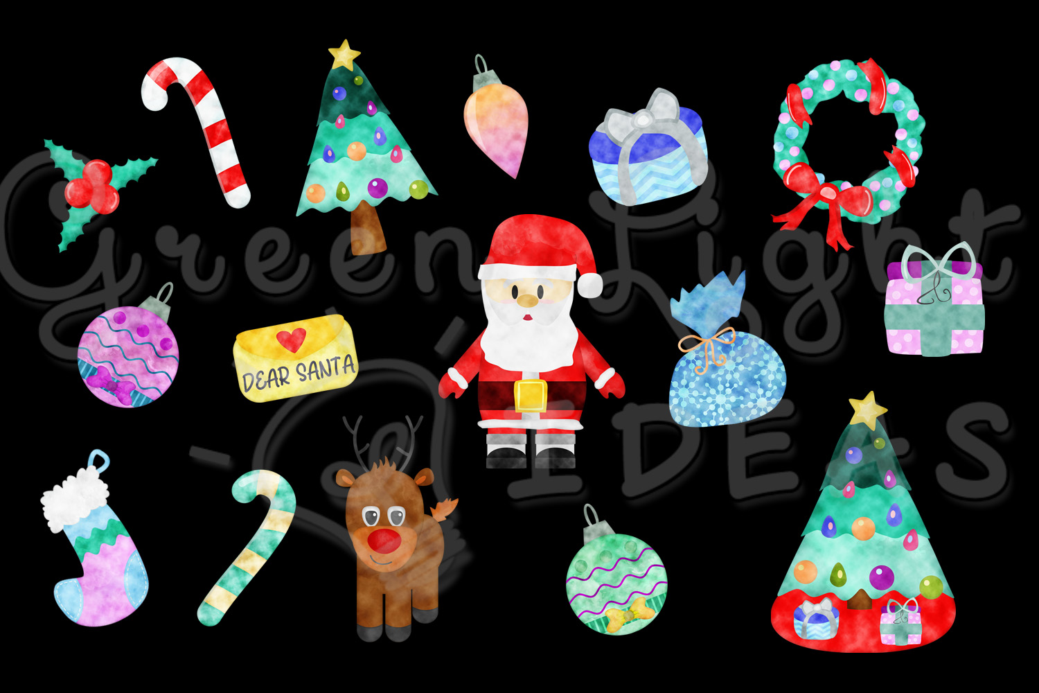 Christmas Graphic Set, Watercolor Christmas Graphics, Christmas Clipart, Holiday Clip Art example image 2