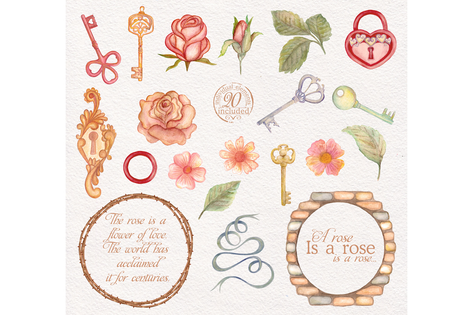 Watercolor wreaths set. Roses & keys example image 4