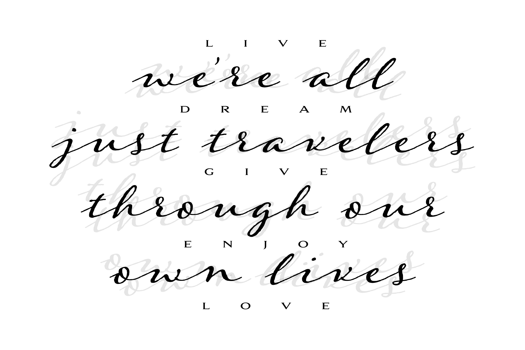 Were all just travelers quote design example image 2