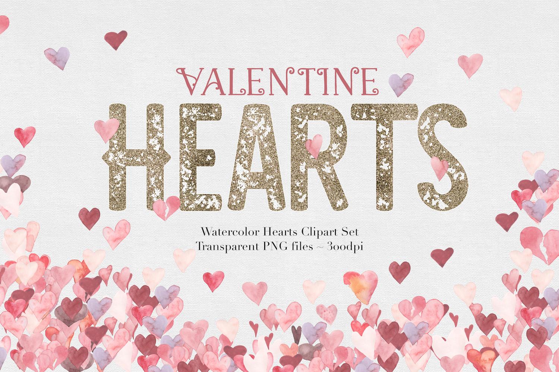 Watercolor Valentine Hearts example image 1