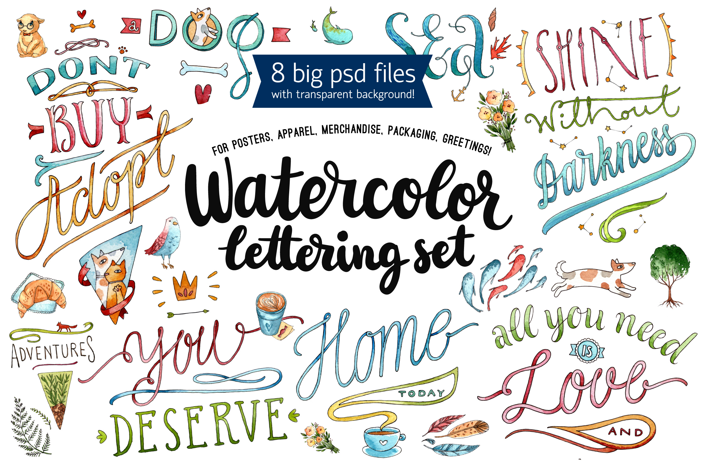 Watercolor Lettering Set example image 1