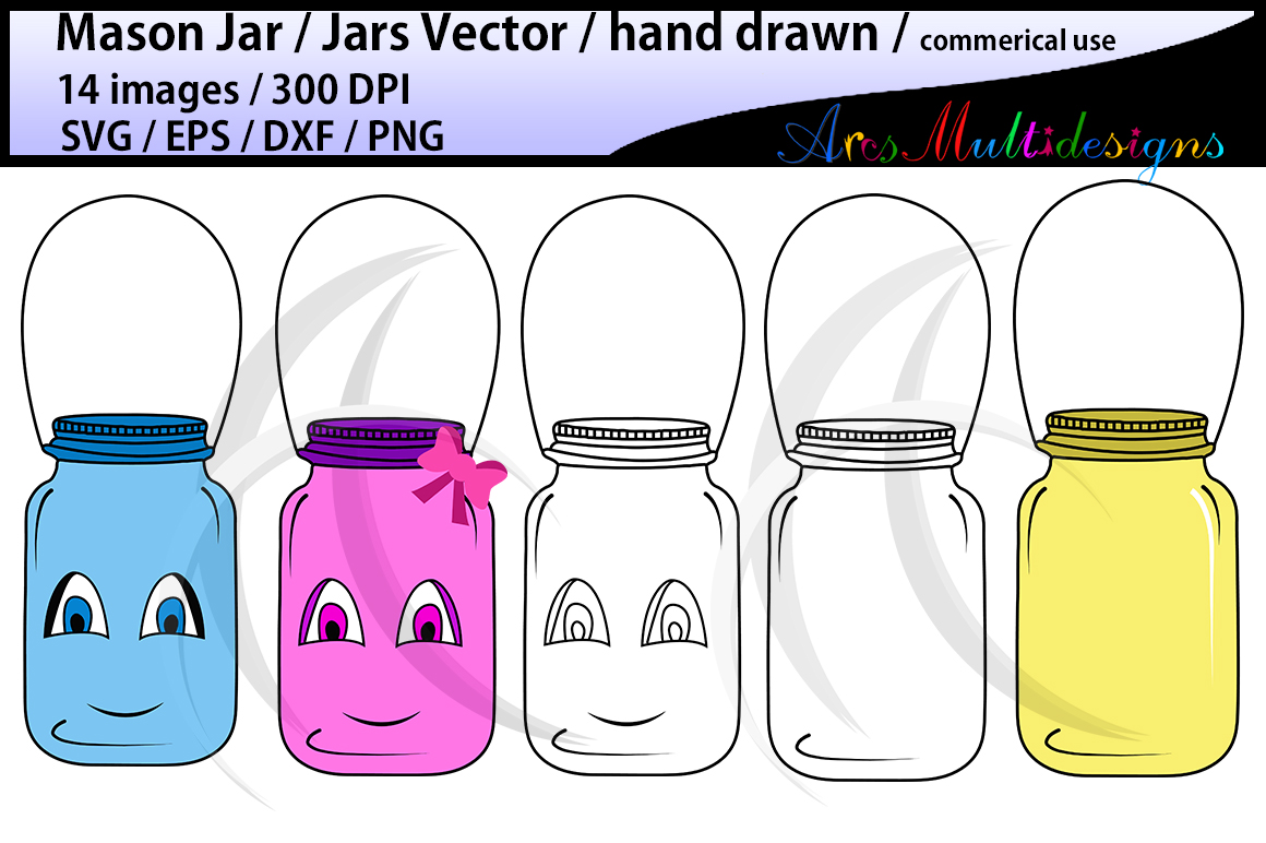 Mason jar clipart set / hand drawn mason jar clipart / mason jar SVG EPS DXF Png / mason jar silhouette / commercial and personal use vector example image 3