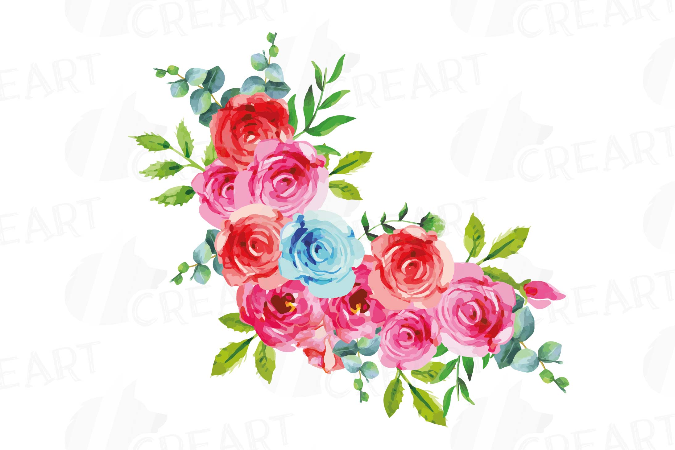 Boho pink and blue watercolor wedding bouquets, floral png example image 7