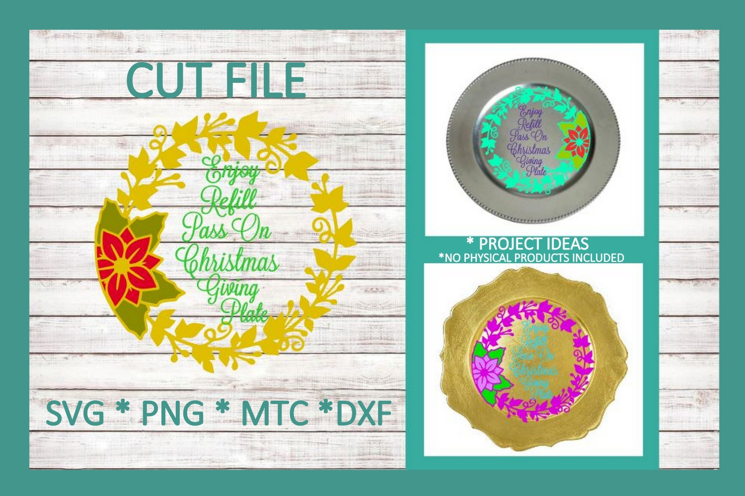 SVG Cut File Christmas Giving Plate Design #05 example image 1