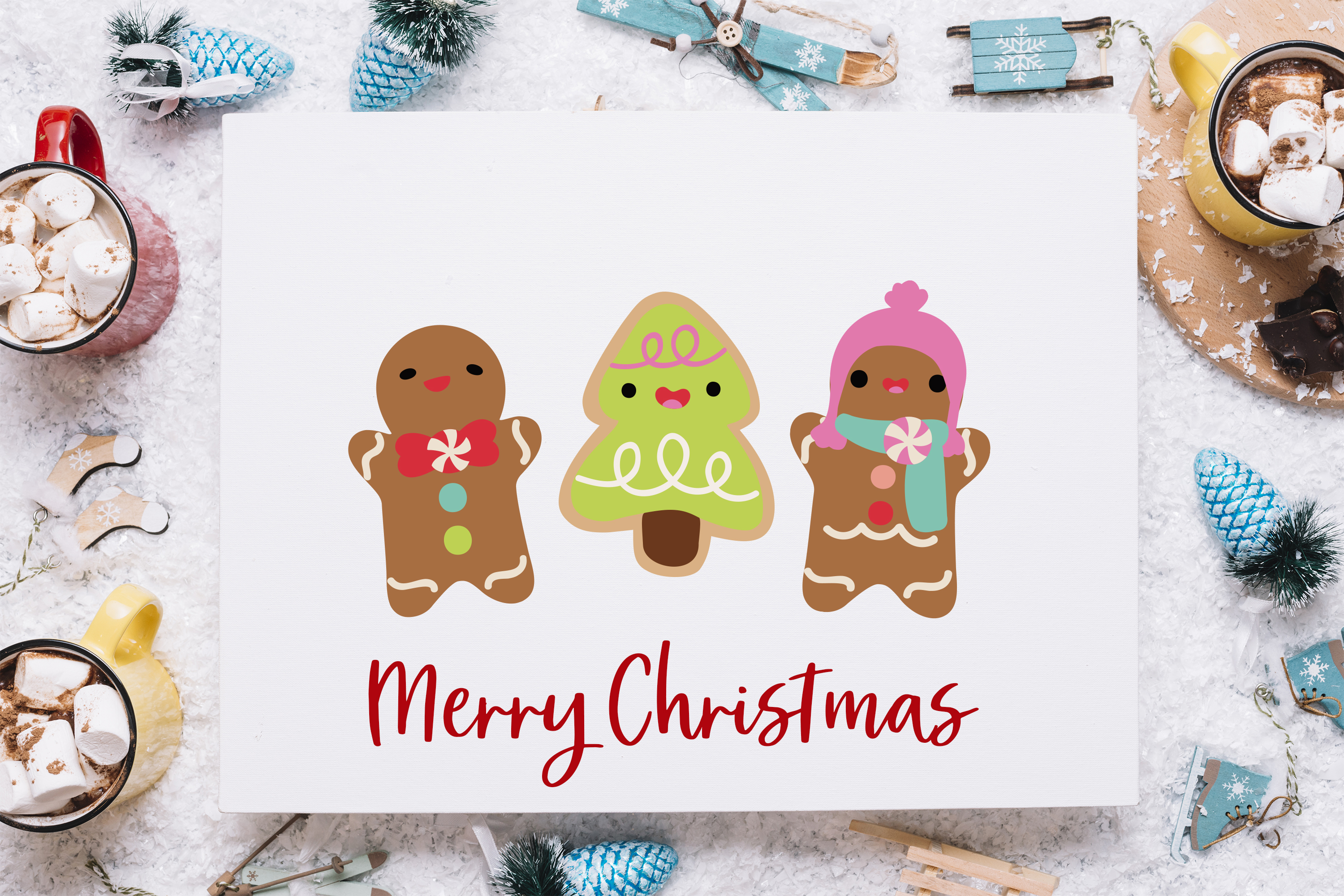Kawaii Christmas Desserts Vector Graphics bundle example image 4