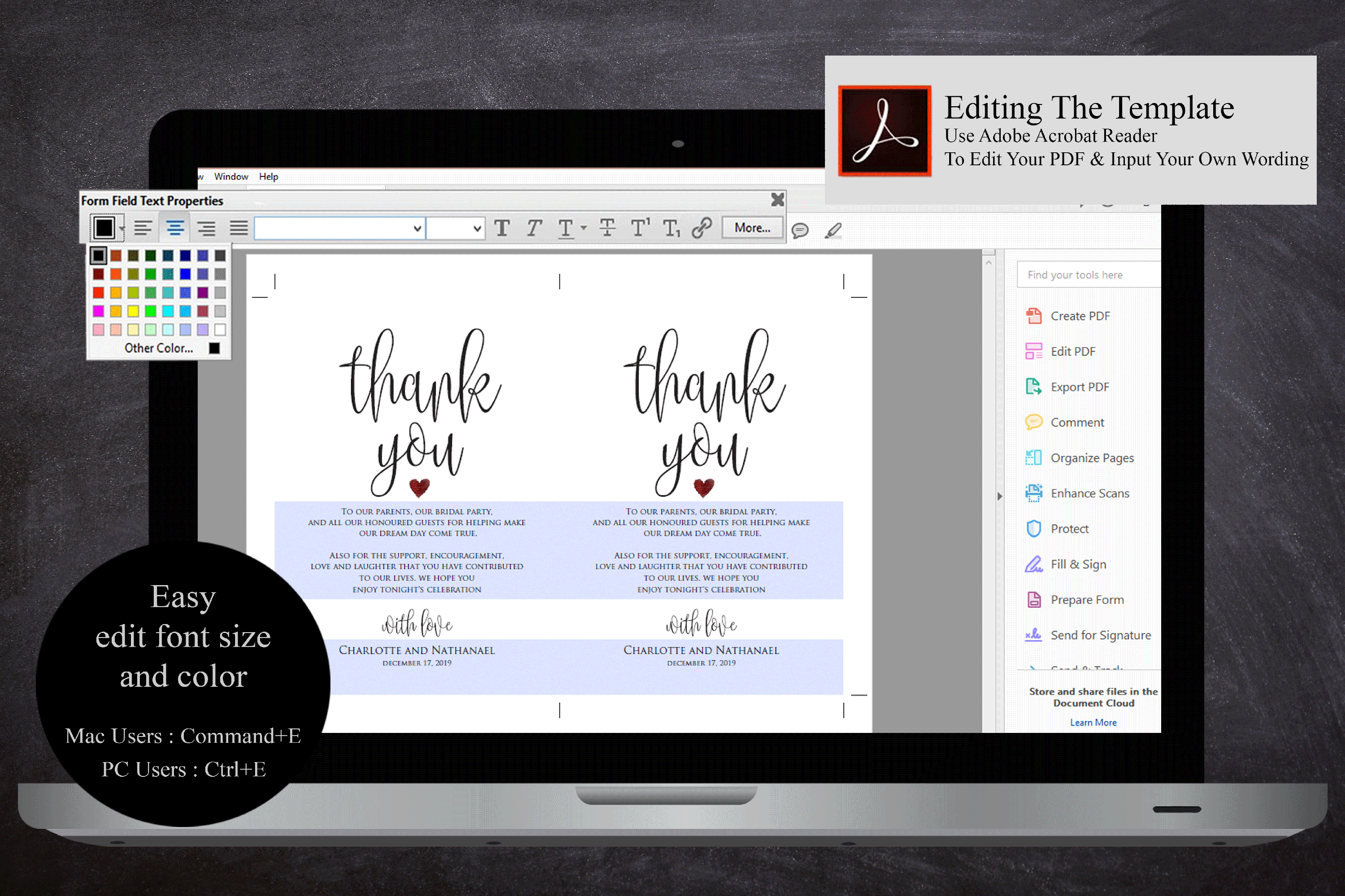 Wedding Thank You Note, Printable Thank You Card Template example image 5