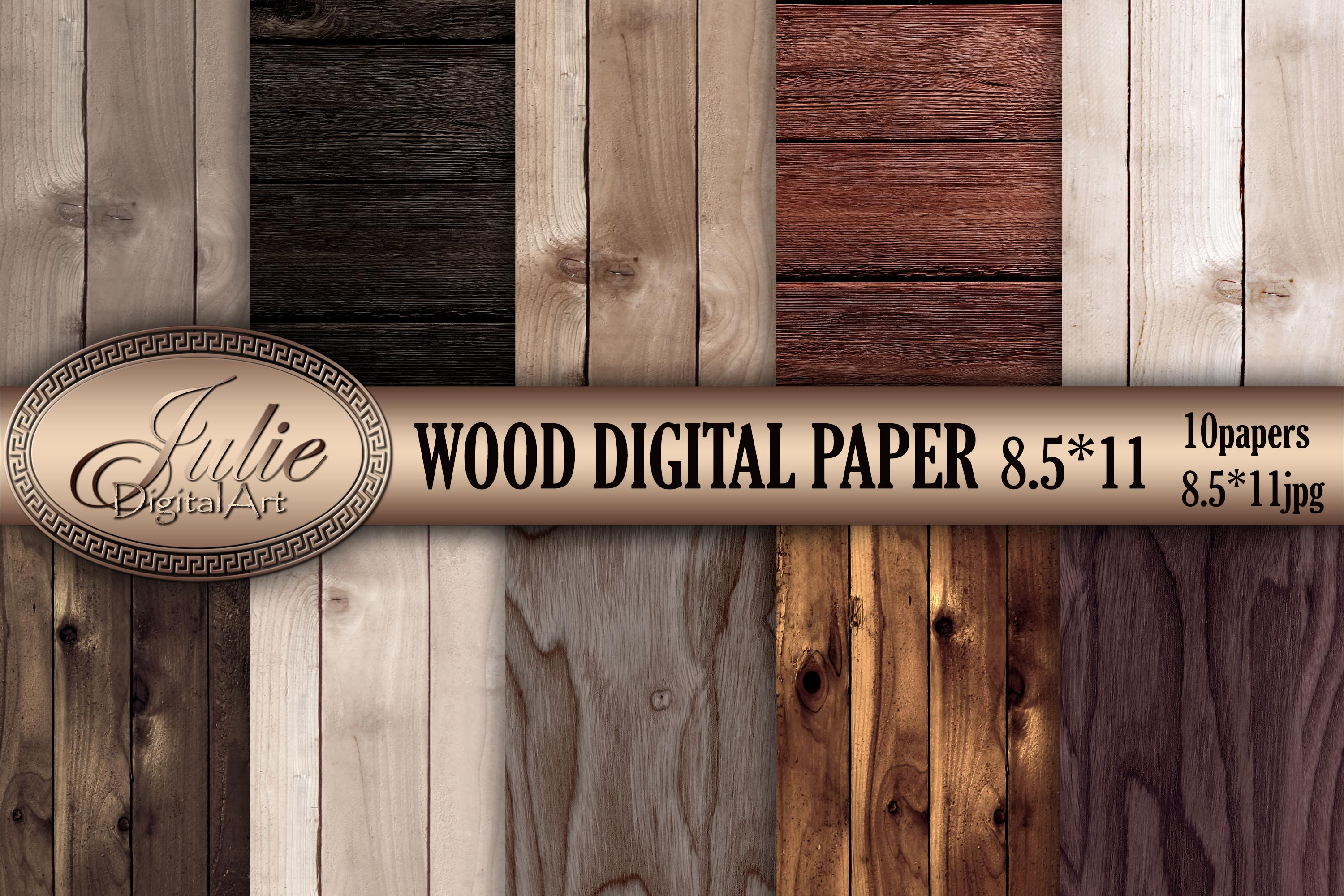 Wood digital paper 8. 5 x 11 Natural wood background example image 1