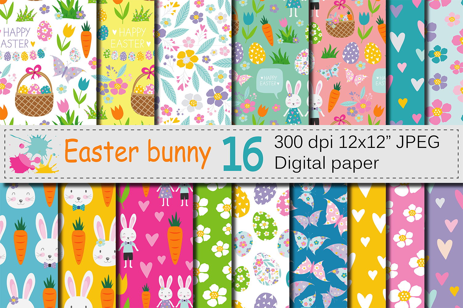 Easter Bunny Digital Paper / Bright Easter Seamless Patterns with bunnies, flowers and Easter eggs / Scrapbooking paper example image 1
