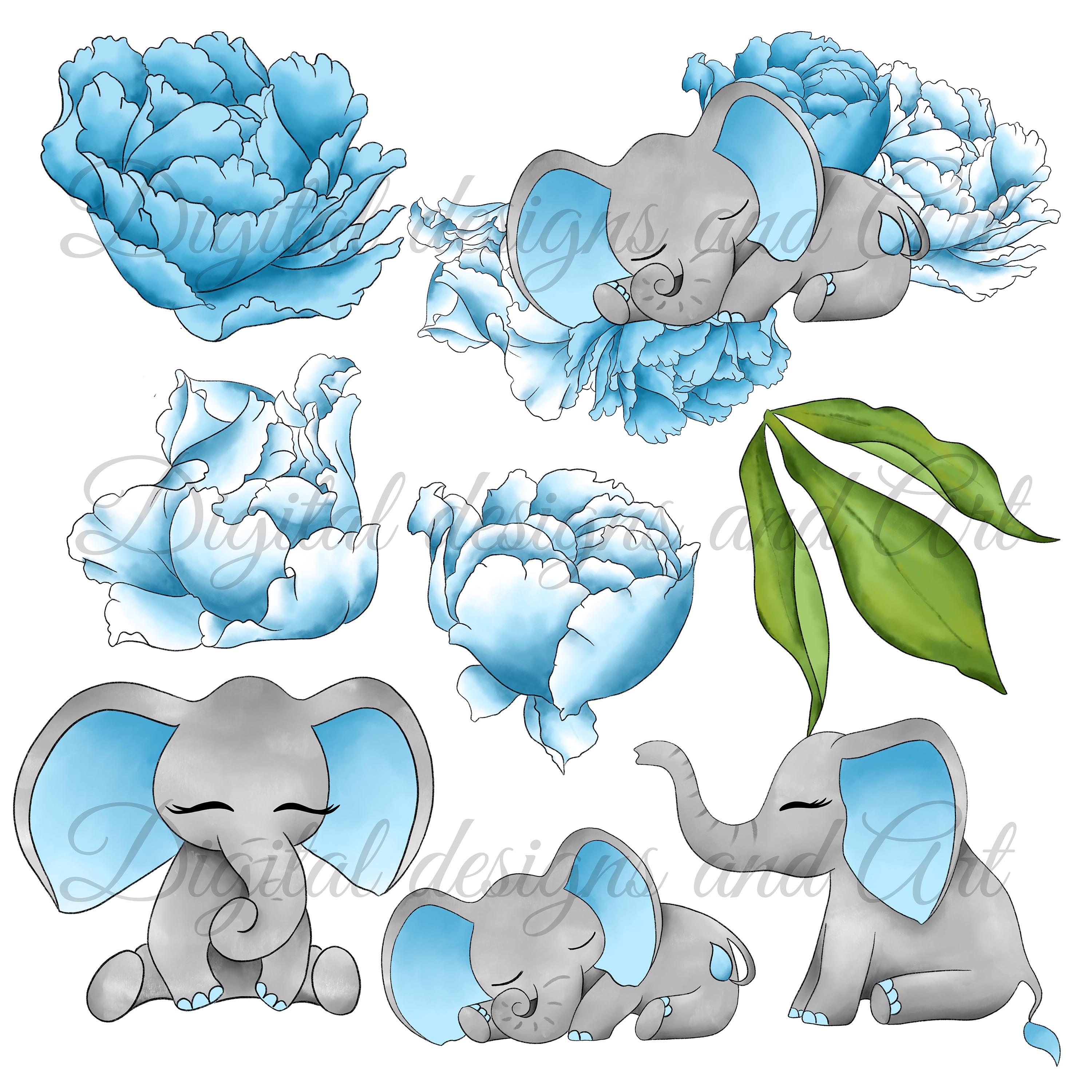 Baby elephant clipart example image 4