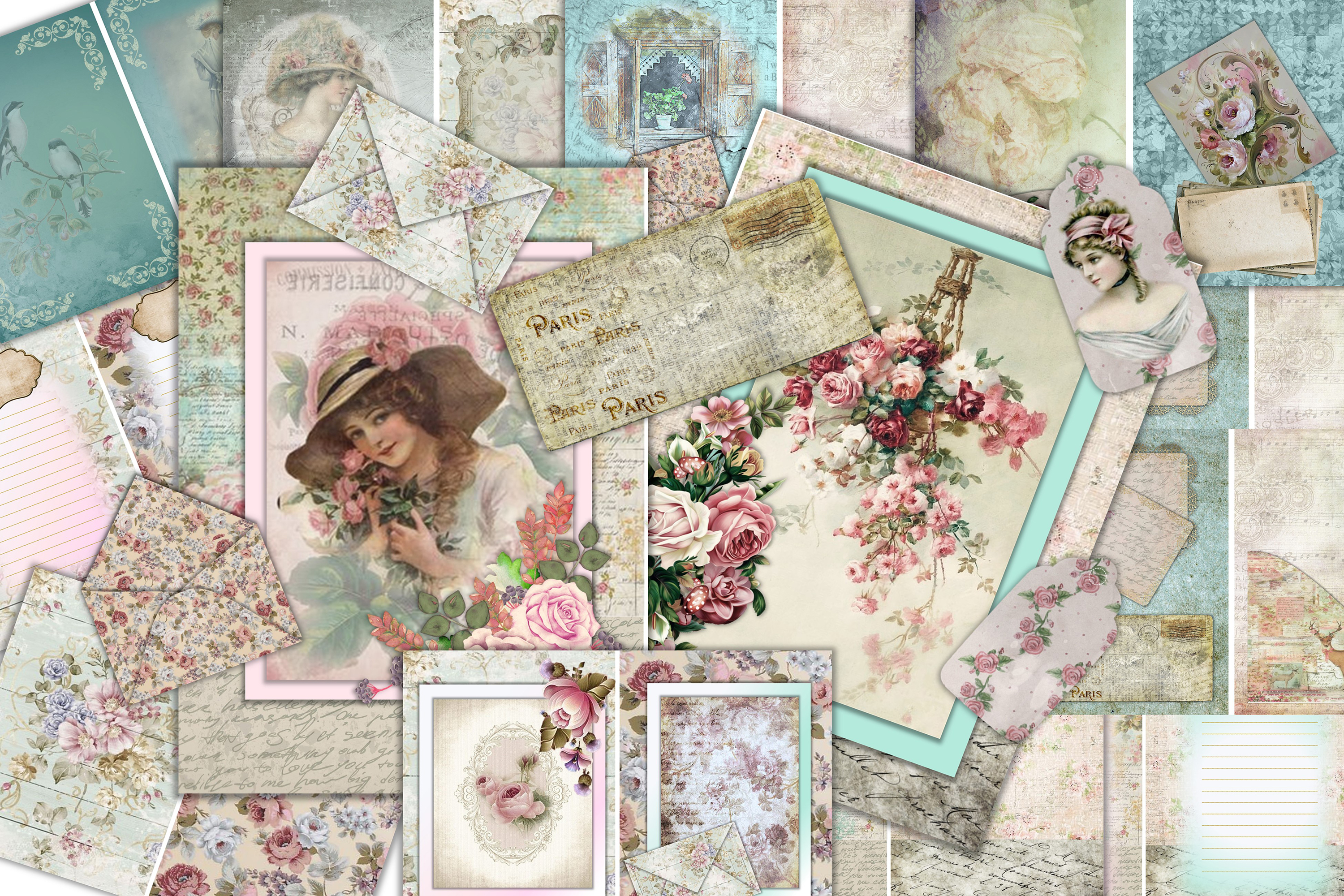 Junk Journal Kit 24 pages with ephemera, collage and tags CU example image 1