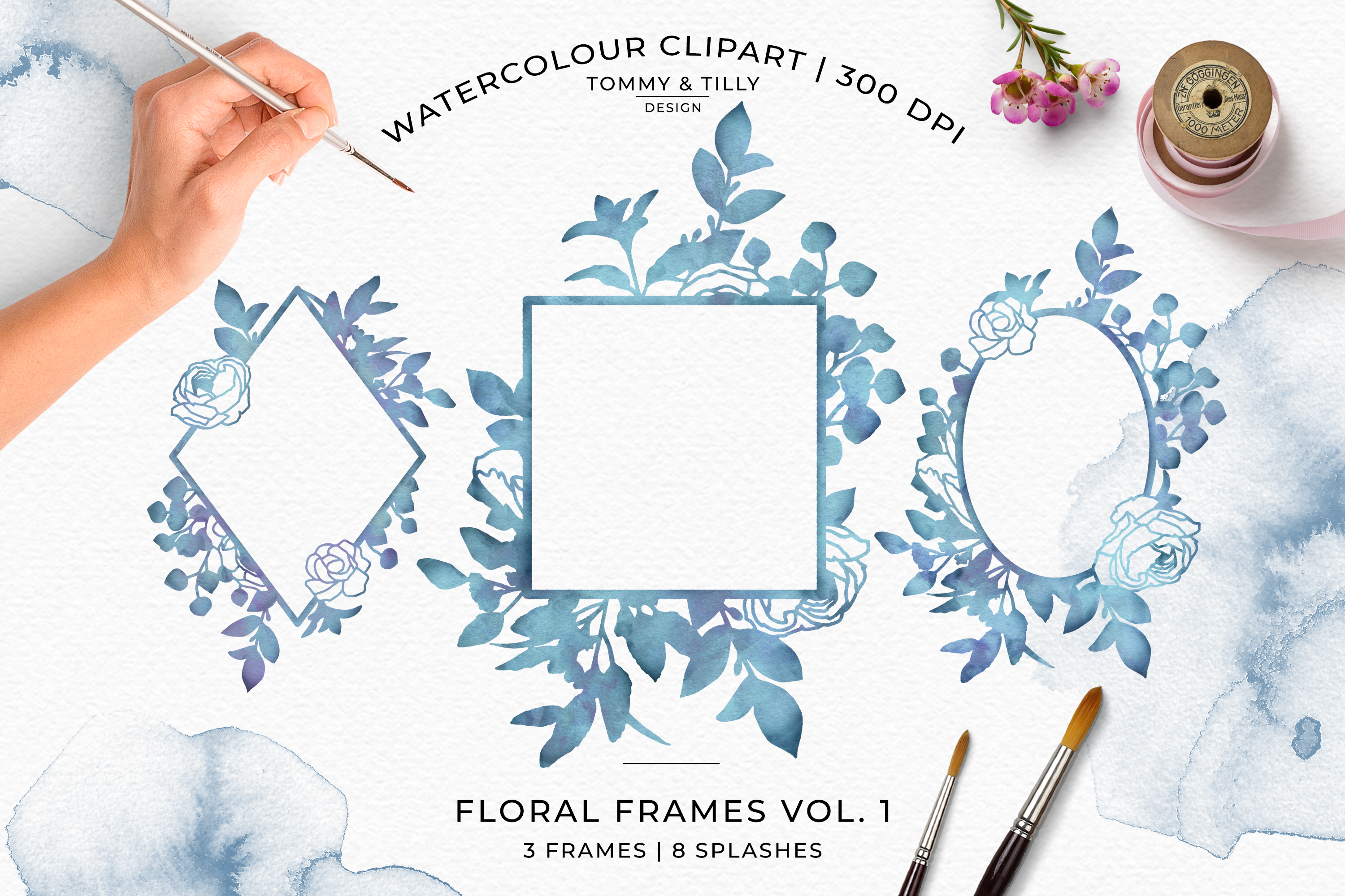 Watercolour Sea Blue Floral Frames - Wedding Clipart PNG example image 1