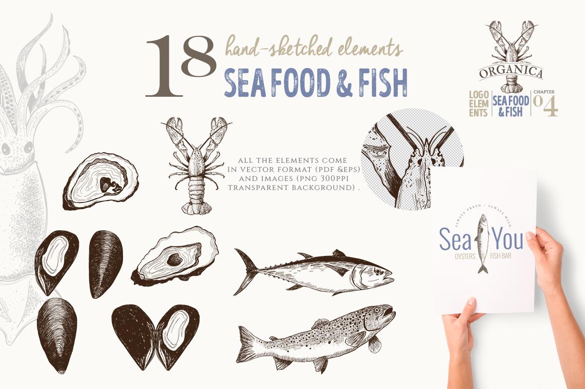 ORGANIC LOGO ELEMENTS SEA FOOD & FISH example image 3