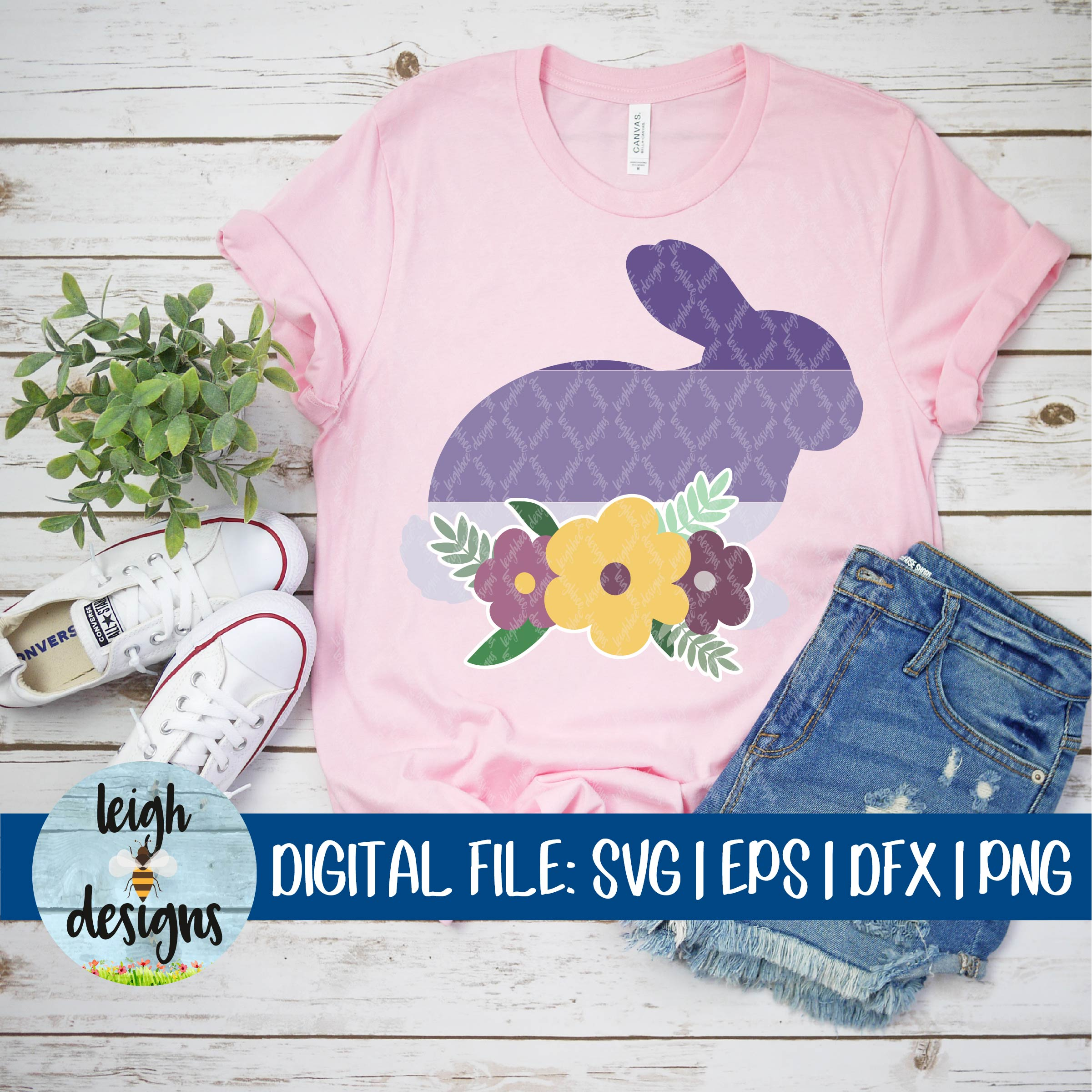 Ombre Bunny with Flower Swag SVG EPS DFX PNG Cut File example image 4