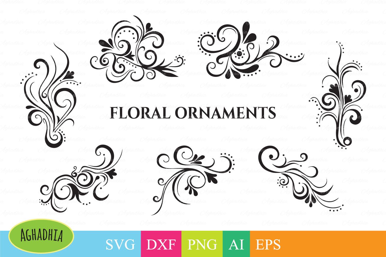 Floral svg design. Swirls vector elements. Flower svg Ornaments. Decoration svg. example image 1