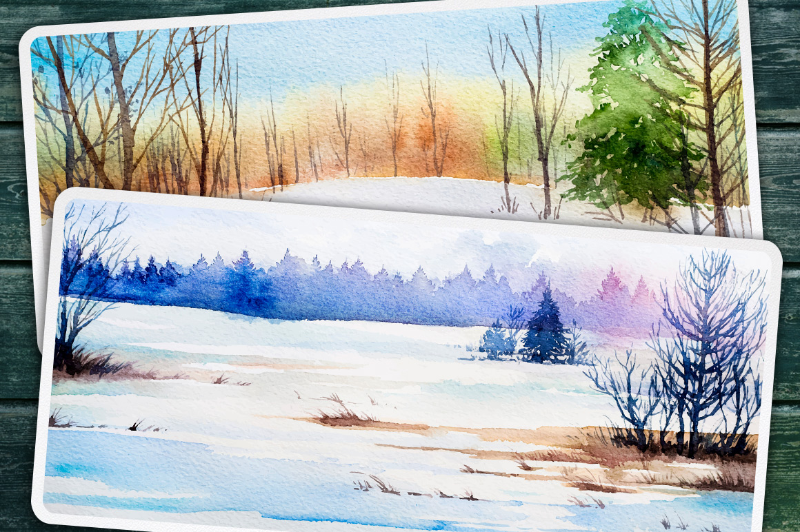 Winter Landscapes set#2. Watercolor. example image 9