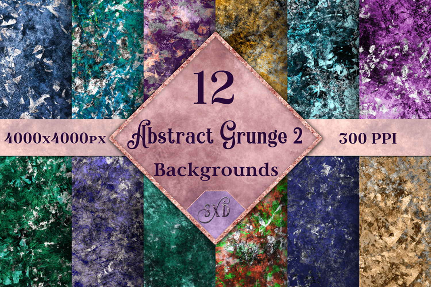 Abstract Grunge 2 Backgrounds - 12 Image Set example image 1