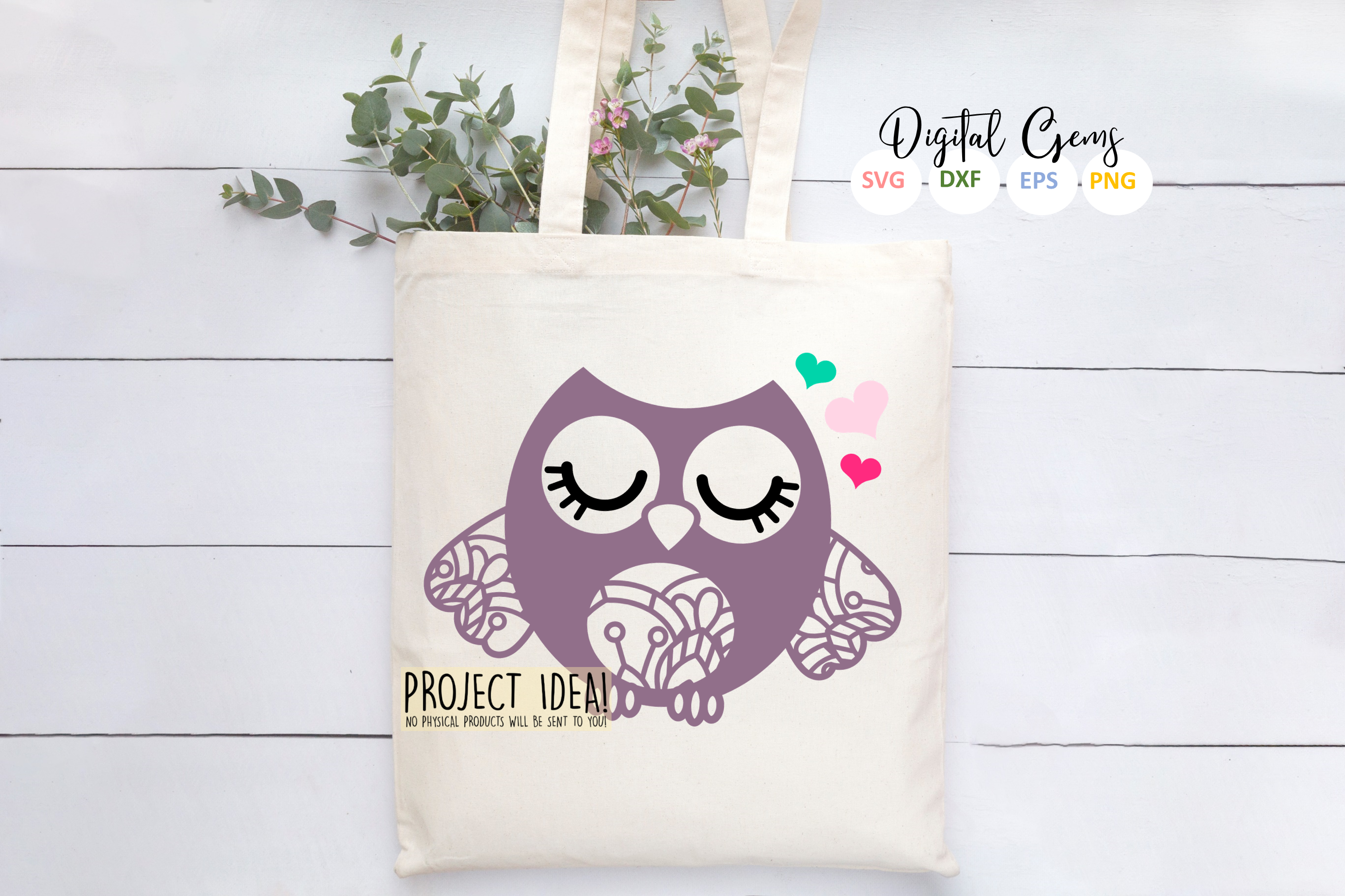 Owl SVG / EPS / DXF / PNG files example image 5