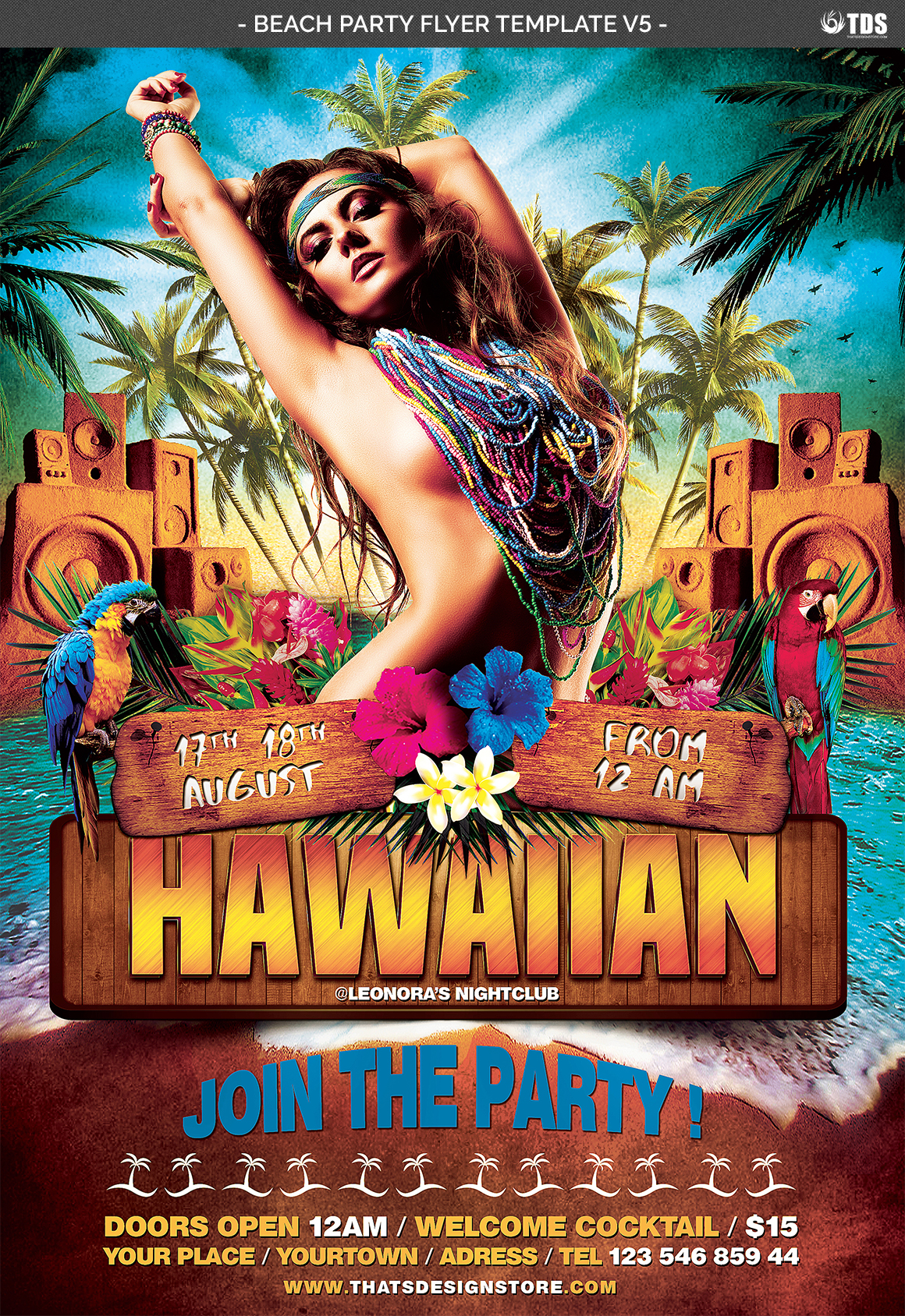 Beach Party Flyer Template V5 example image 4