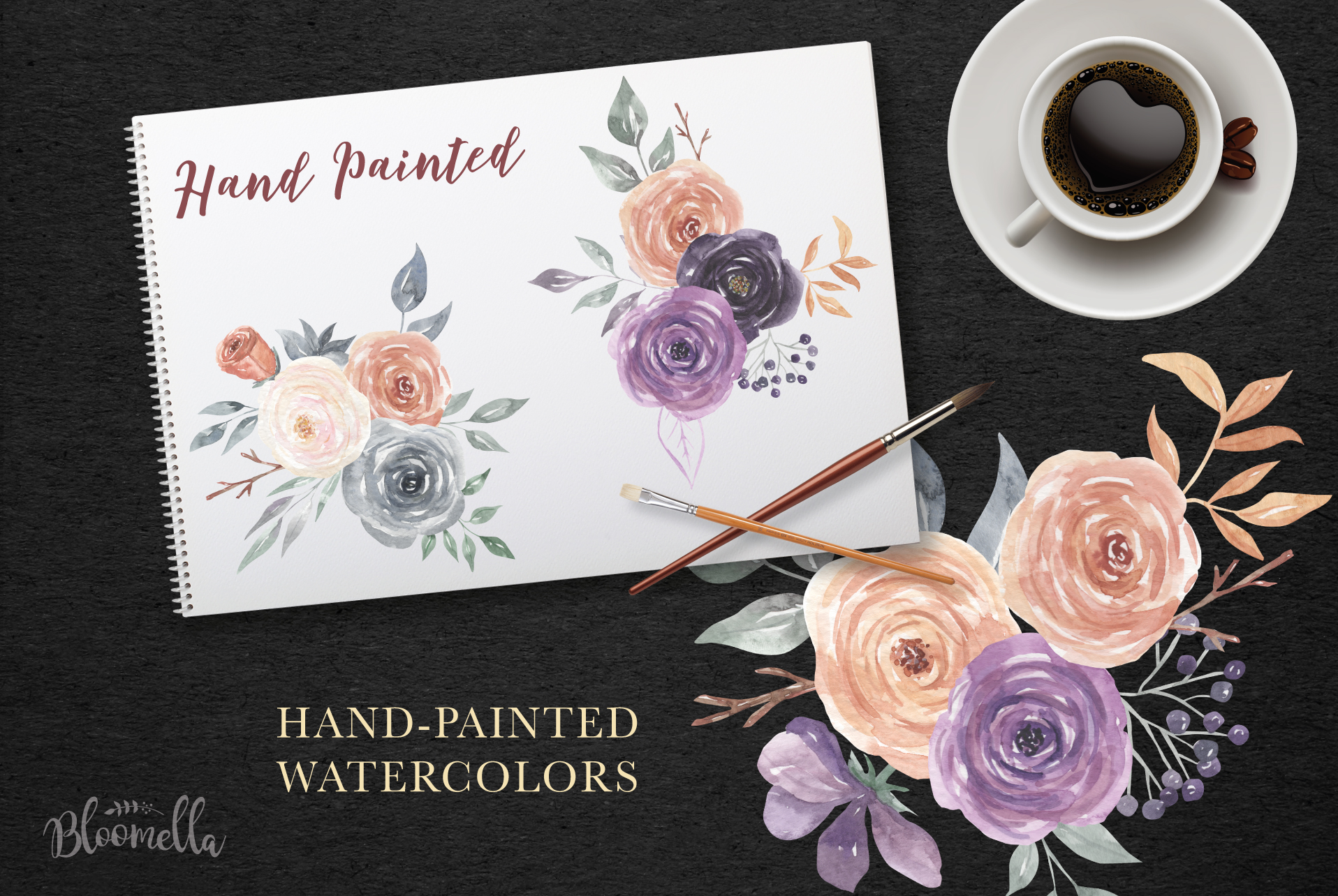 Mystical Watercolor 8 Clipart Bouquets Flowers Berries example image 6