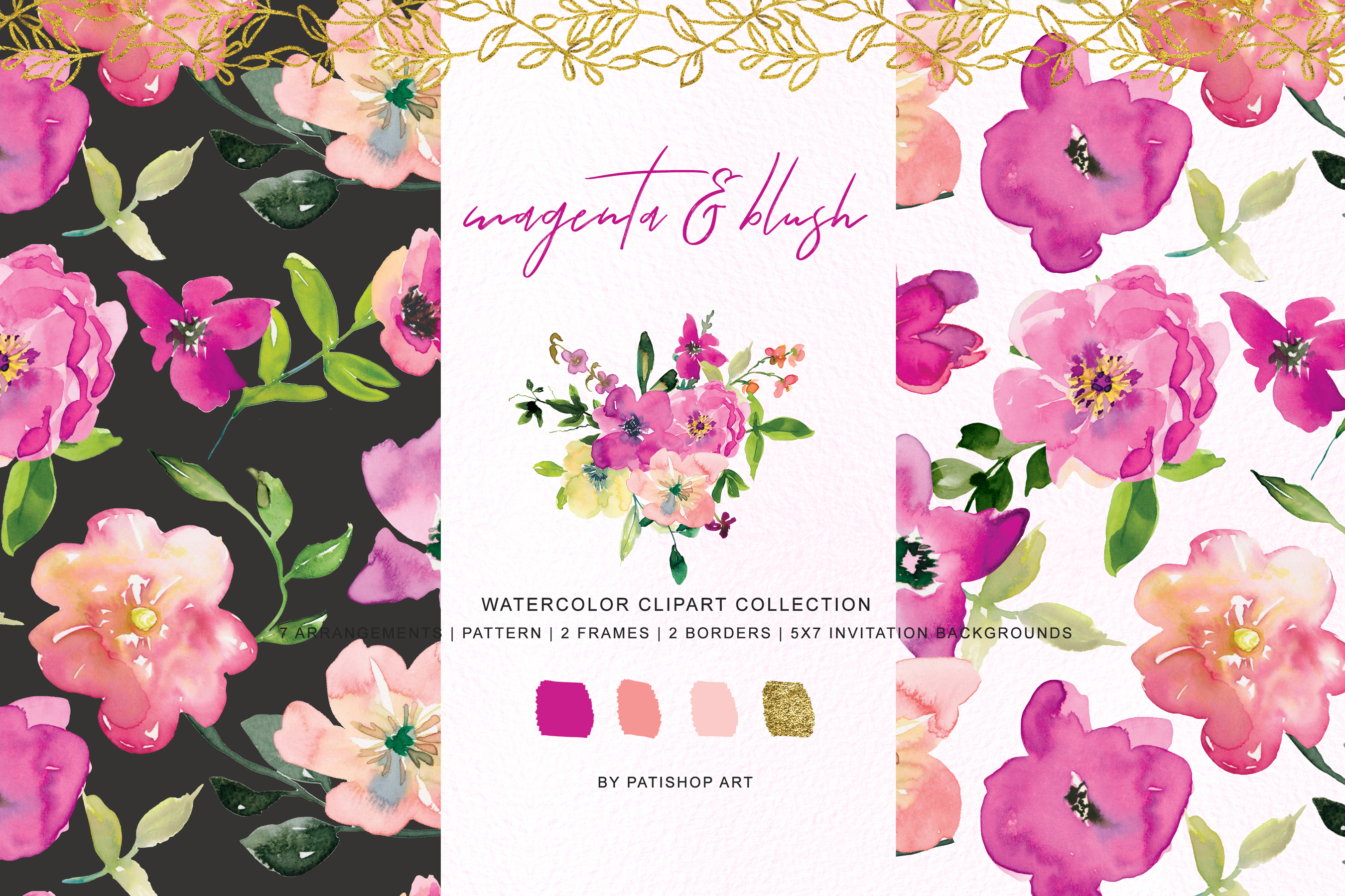 Watercolor Magenta and Blush Floral Bouquet Clipart example image 1