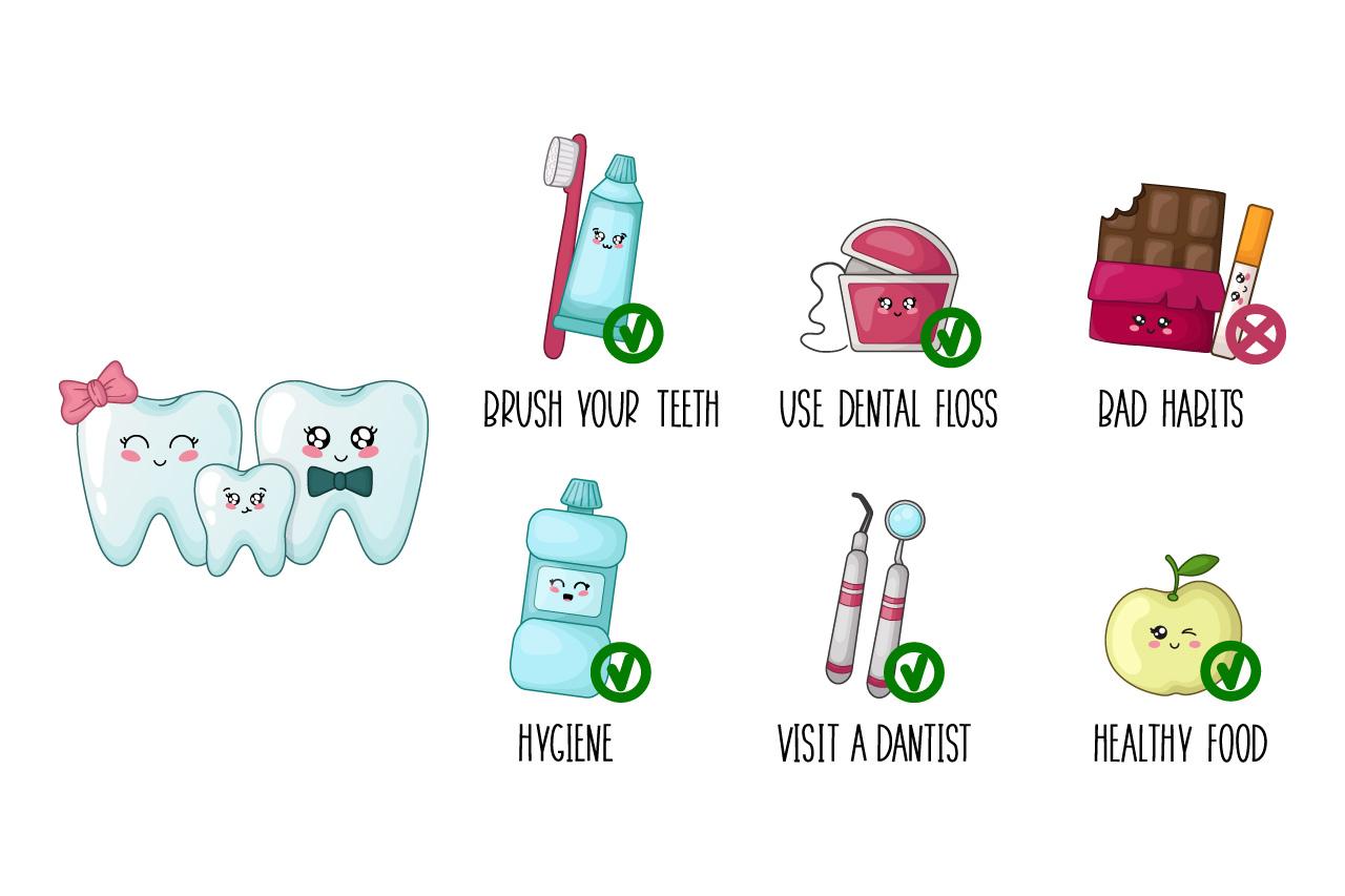 Cartoon kawaii teeth healthy habits example image 1