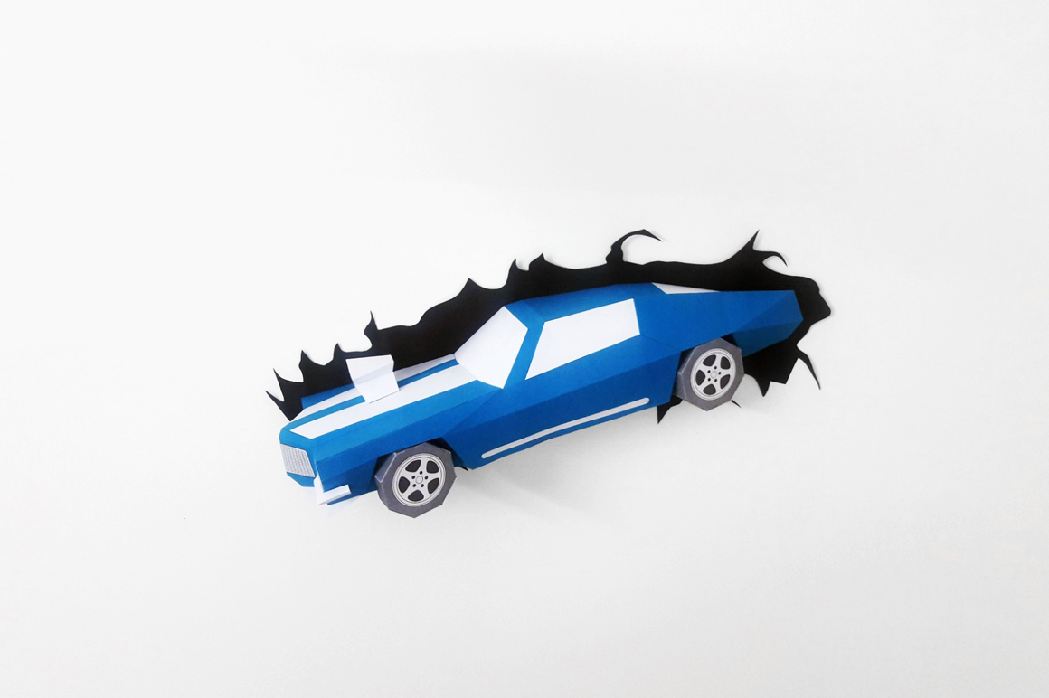 DIY Crashing Car - 3d papercraft example image 3