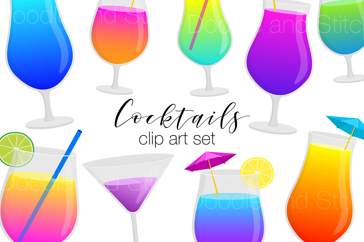 Cocktail Drinks Clipart Illustrations example image 1