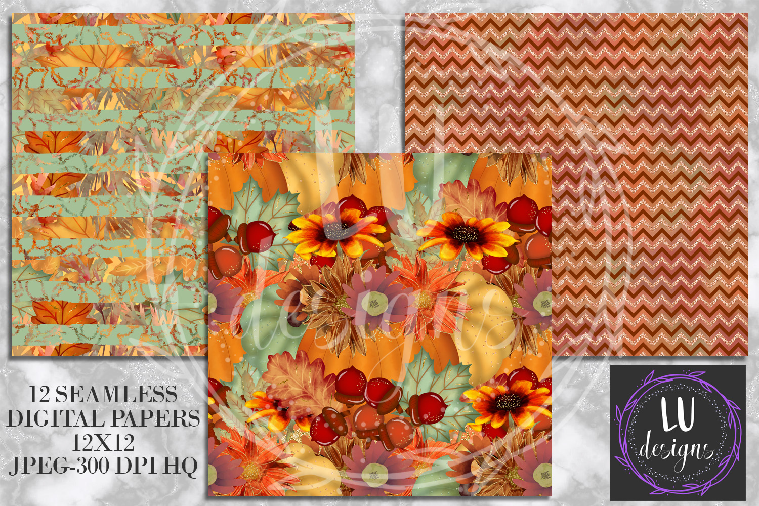 Fall Digital Papers, Autumn Backgrounds, Fall Patterns example image 4