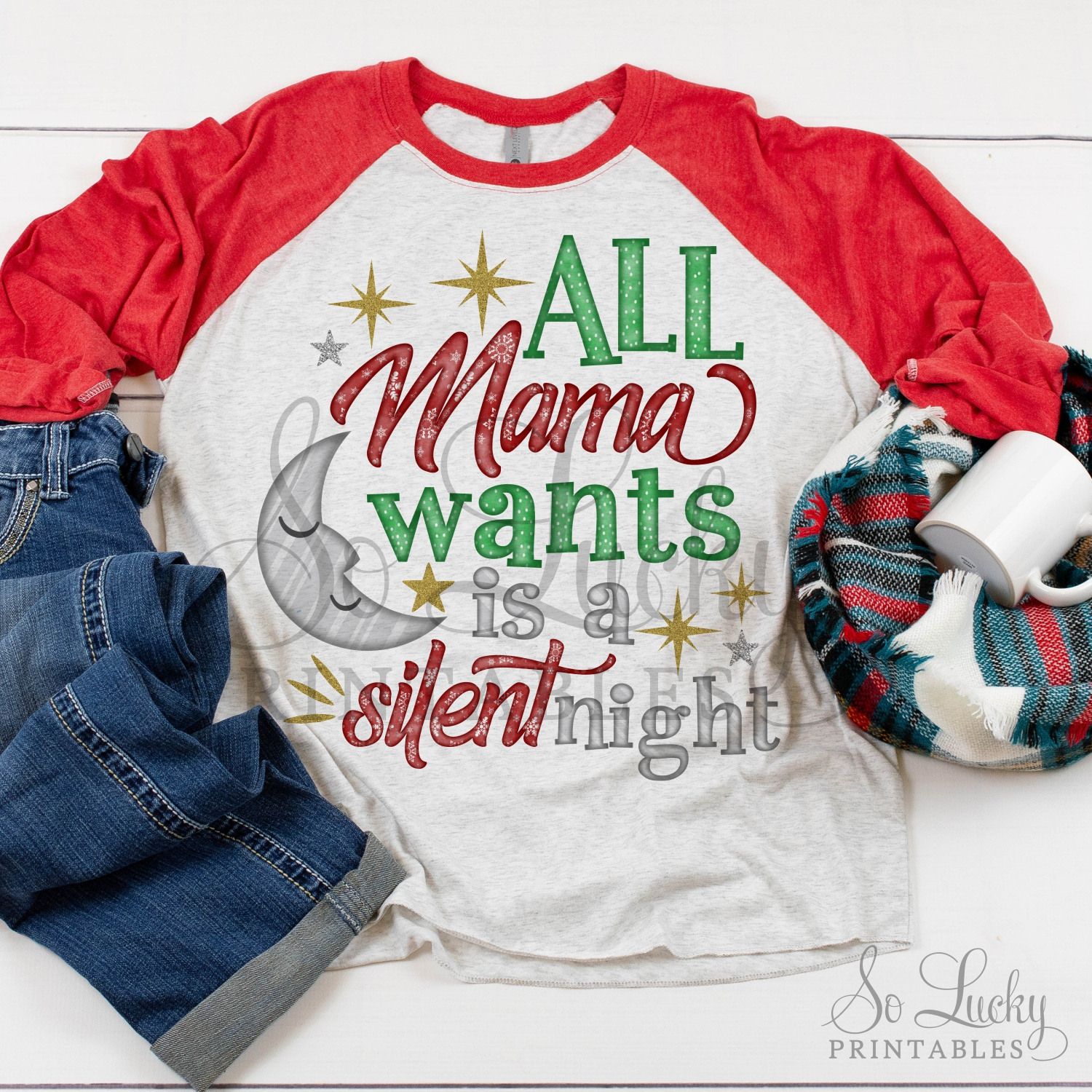 Mama wants is a silent night printable sublimation design example image 2