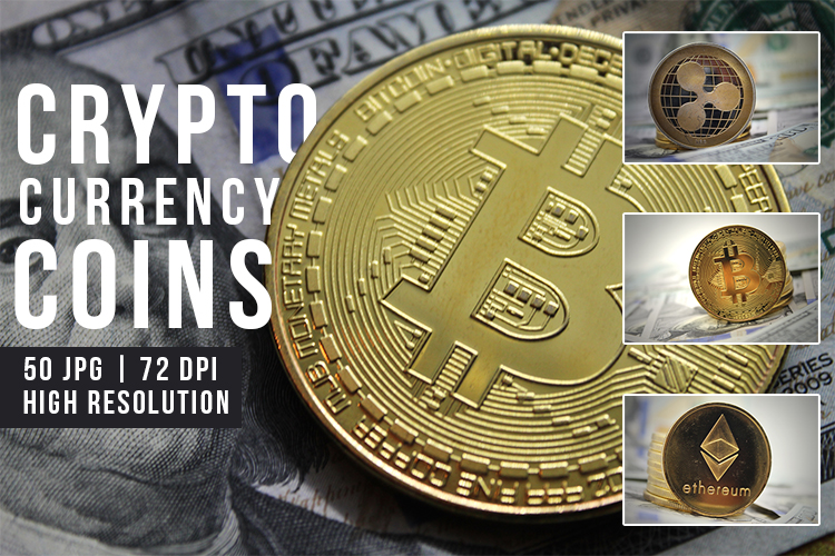 Cryptocurrency Coins. Bitcoin, Ripple and Ethereum JPEG Set example image 1