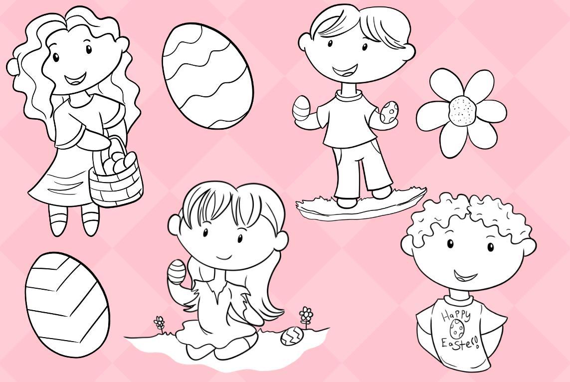 Cute Easter Egg Hunt Digital Stamps example image 3