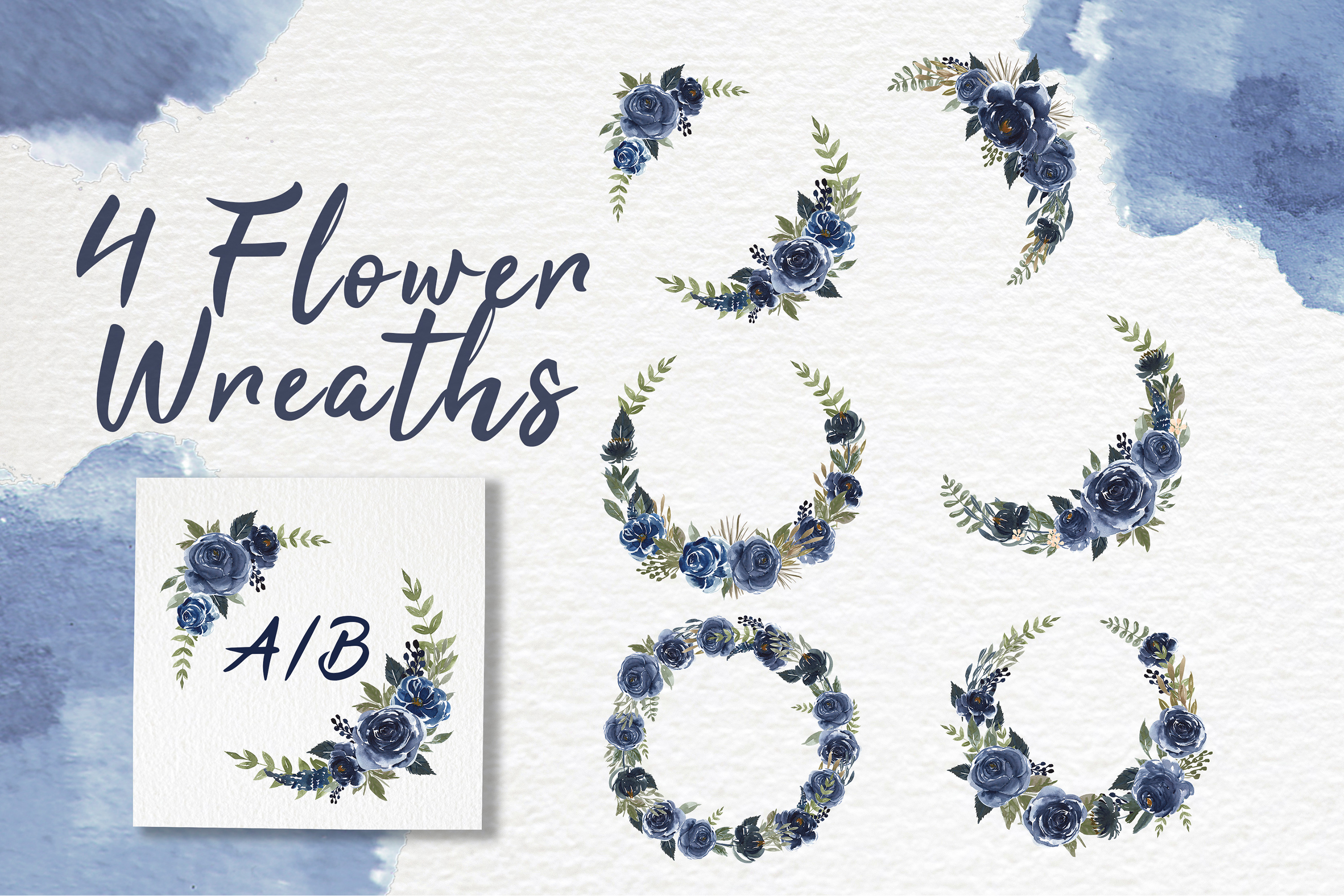 Navy Blue Flower Watercolor Clip-art example image 4