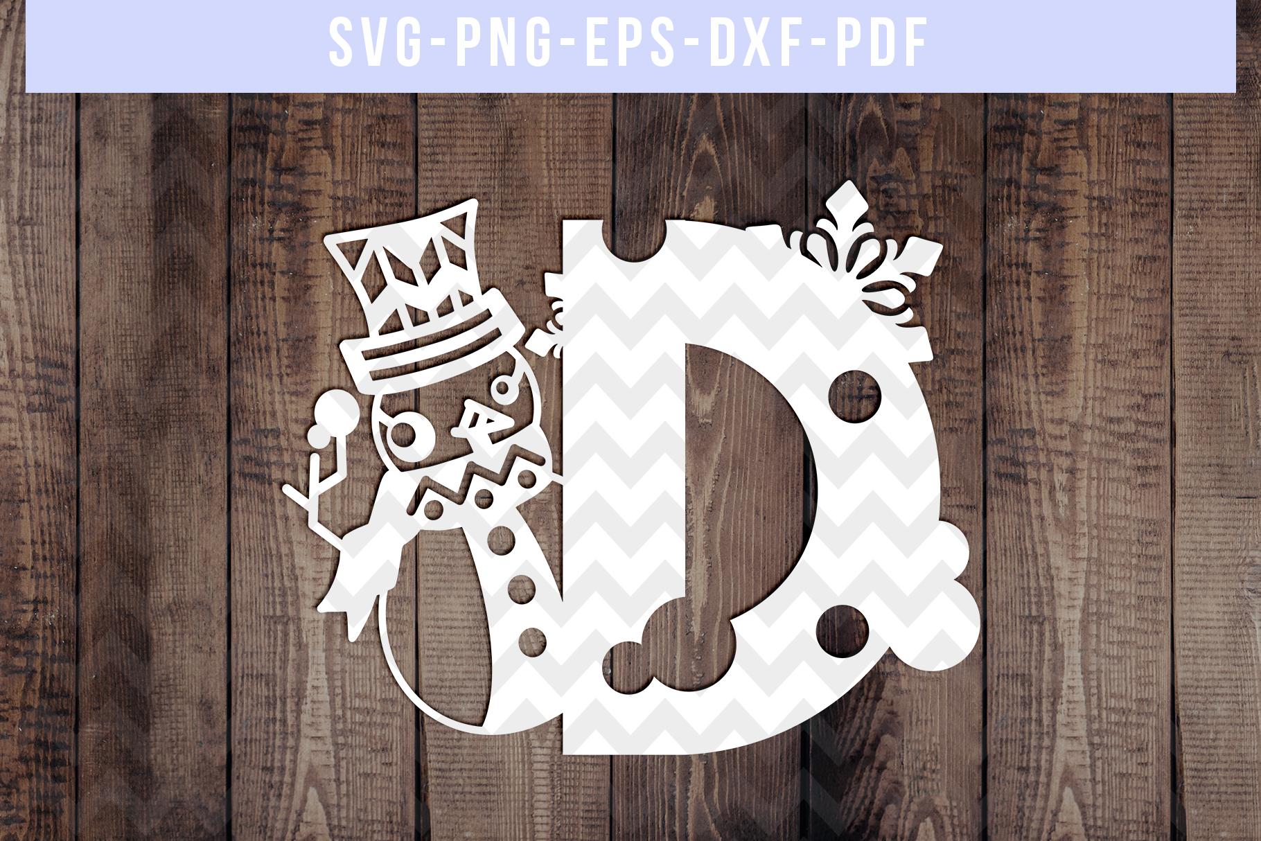 Bundle Of 26 A-Z Snowman Alphabet Papercut Templates, SVG example image 5