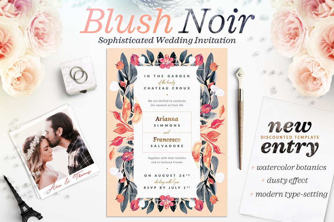 Blush Noir Wedding Invite III example image 1