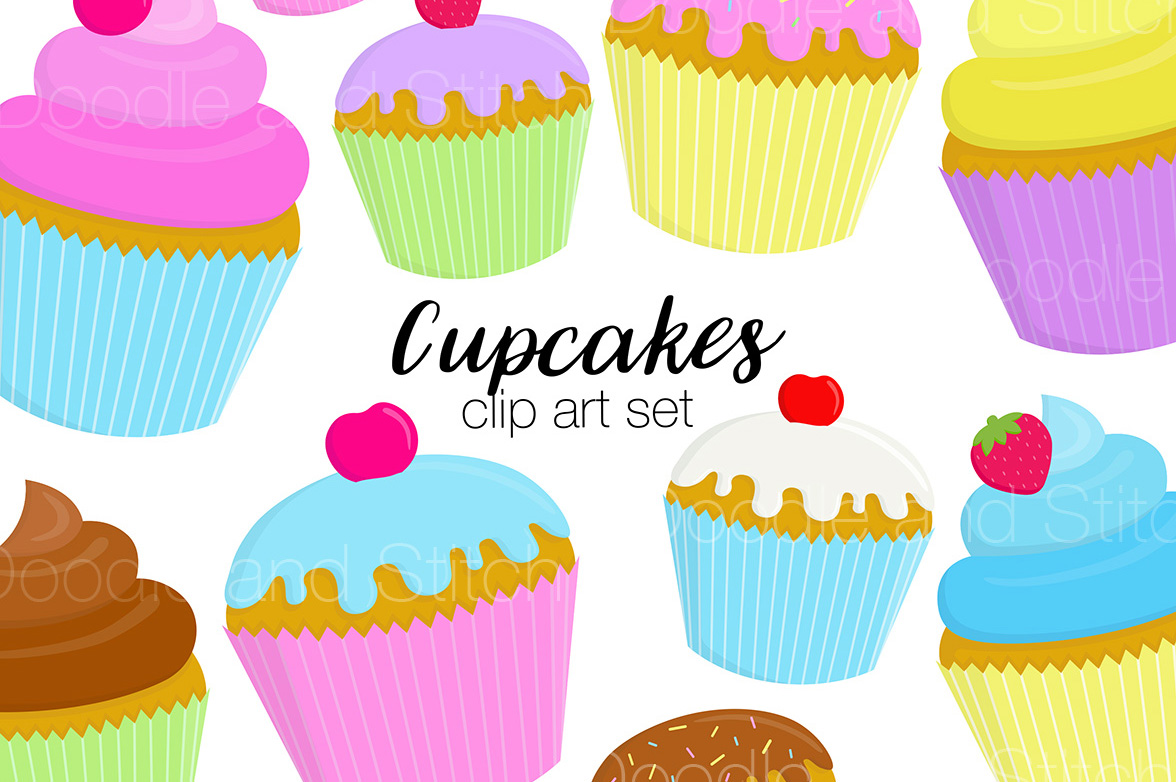 Cupcake Clipart Illustrations example image 1