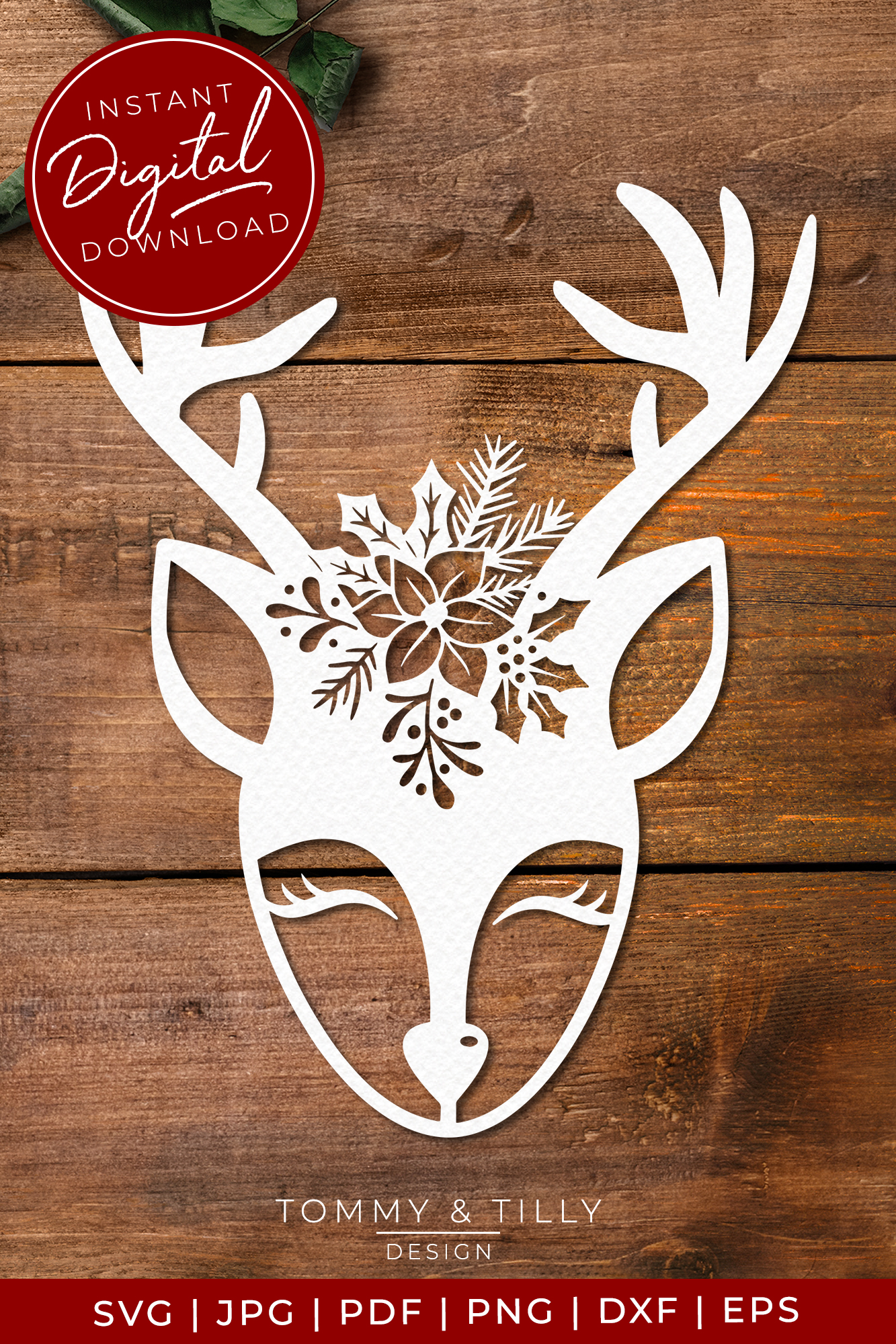 Cute Christmas Deer - SVG EPS DXF PNG PDF JPG example image 4