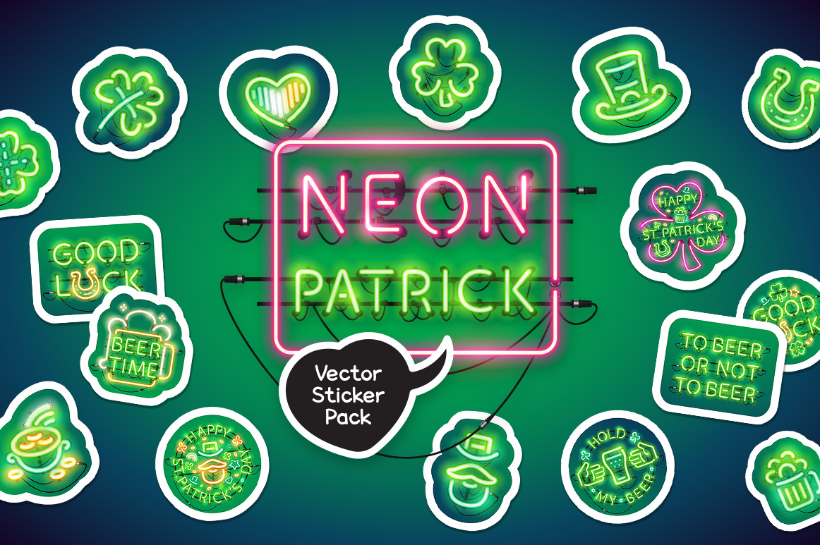 Neon St Patricks Day Sticker Pack example image 1
