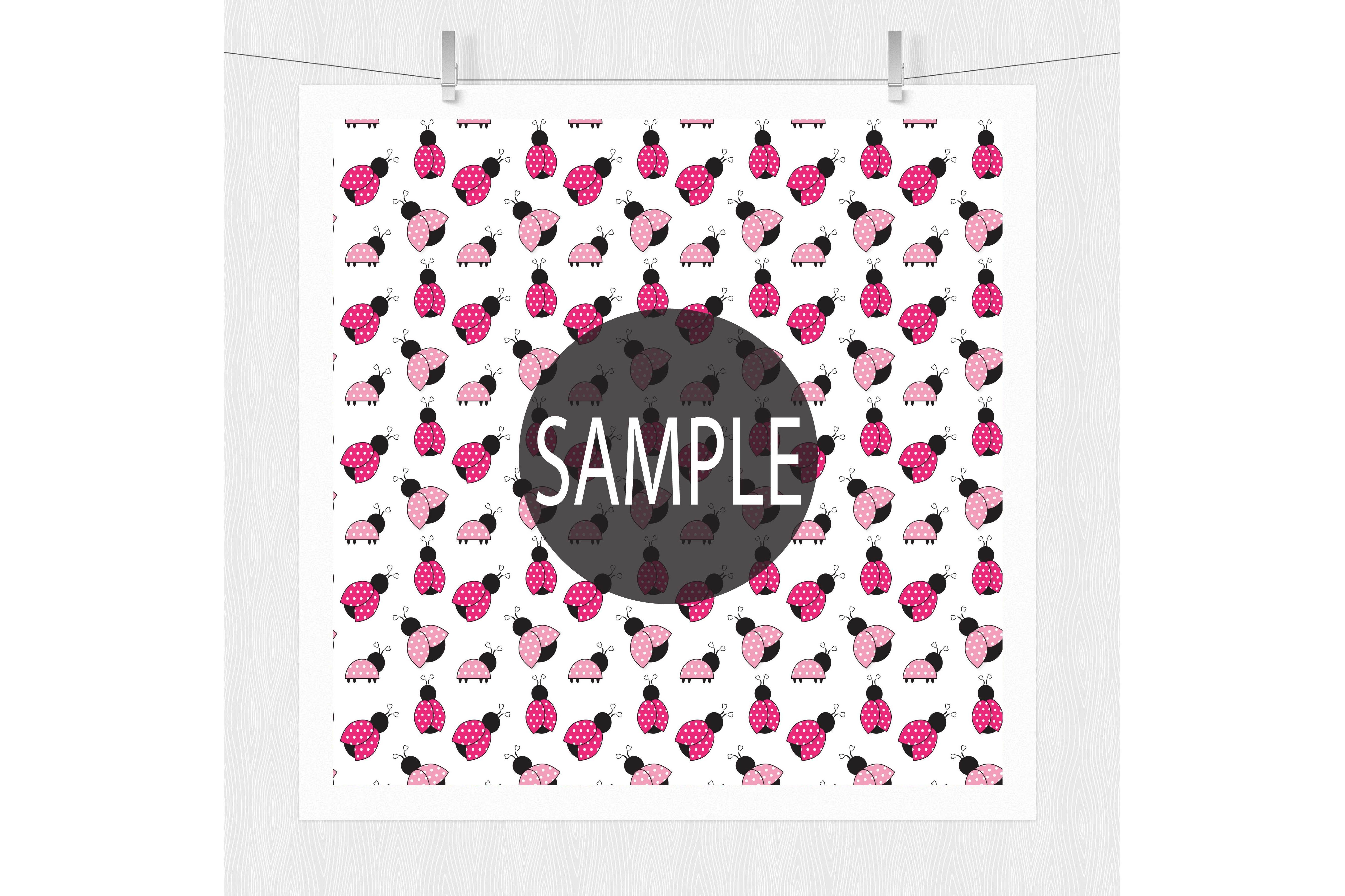 Pink Ladybug Digital Paper  example image 3