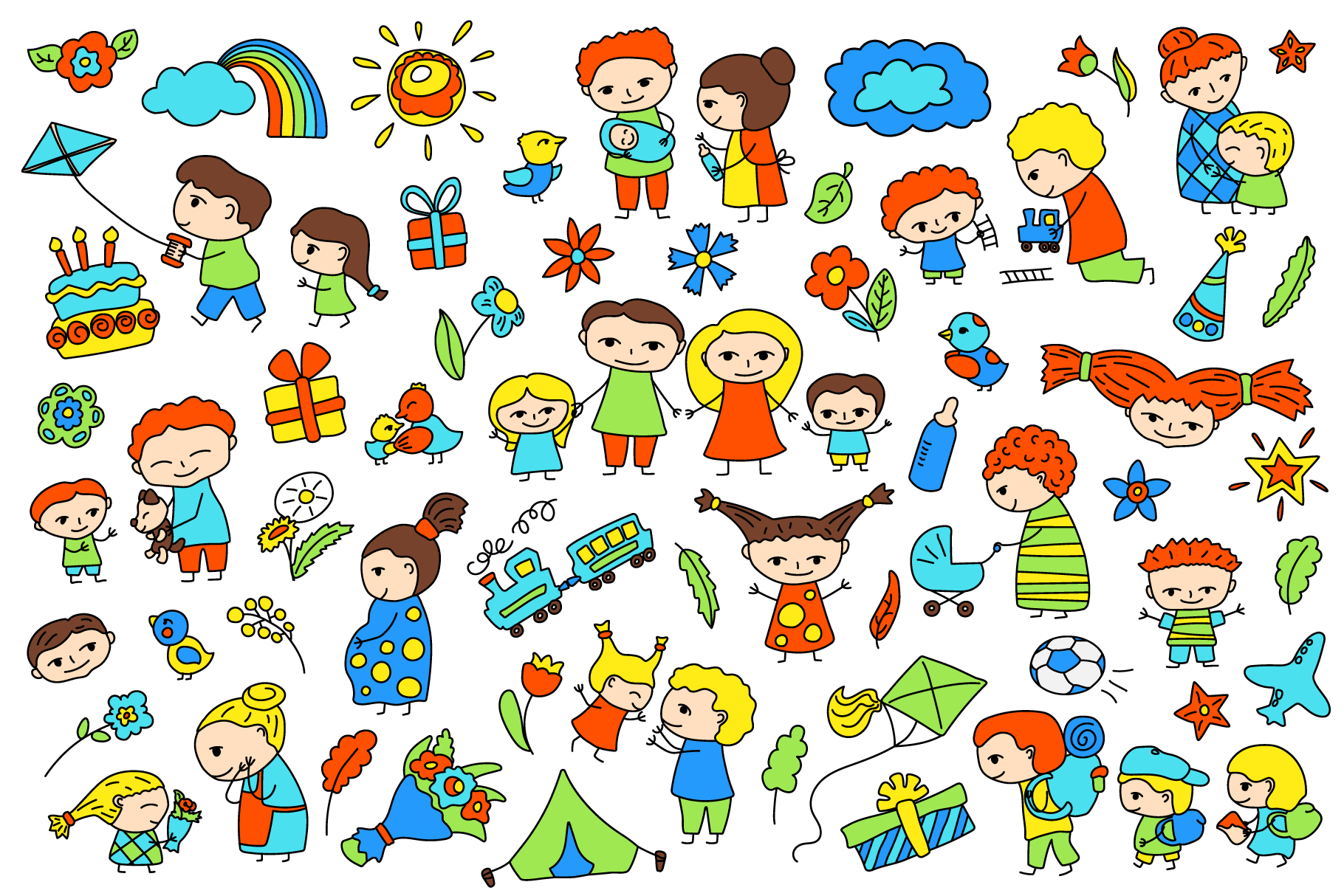 Happy Family Simple Vector Clipart and Patterns example image 2