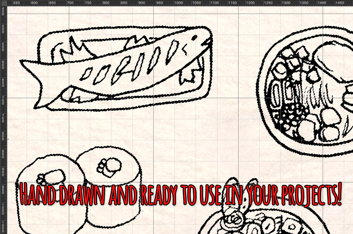 Japanese Food 93 Yummy Restaurant Sketch Graphics example image 3