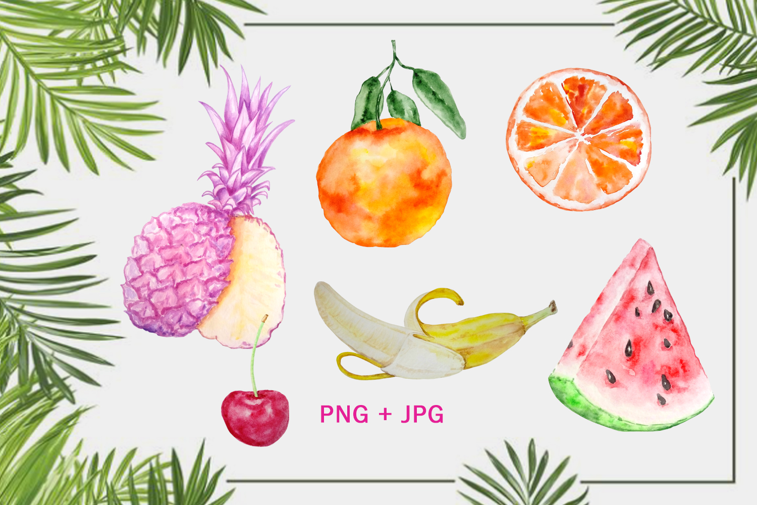 Watercolor Tropical Fruits, Flowers and Birds Clipart Set example image 3