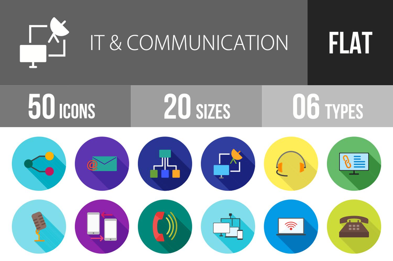50 IT & Communication Flat Long Shadow Icons example image 1