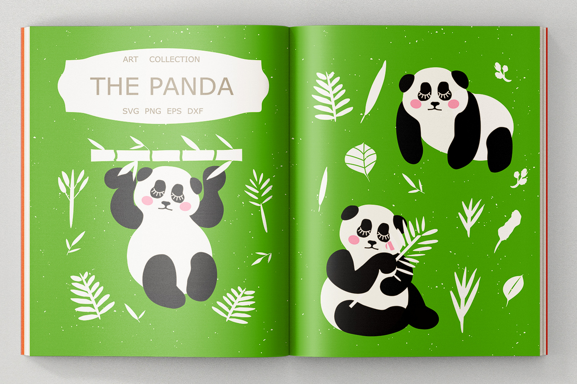 Panda Bundle SVG DXF EPS PNG example image 1