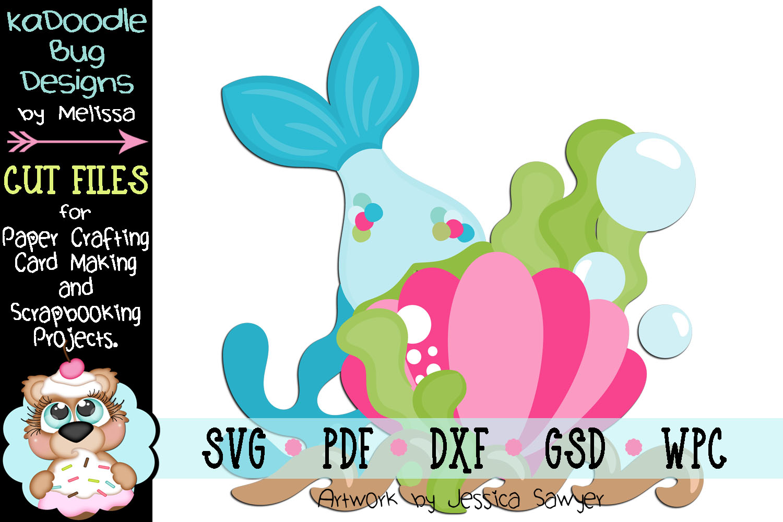 Seashell Mermaid Tail Cut File - SVG PDF DXF GSD WPC example image 1