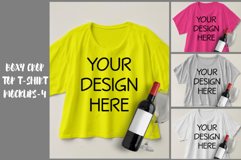 Boxy Crop Top T-shirt Mockups - 4 example image 1