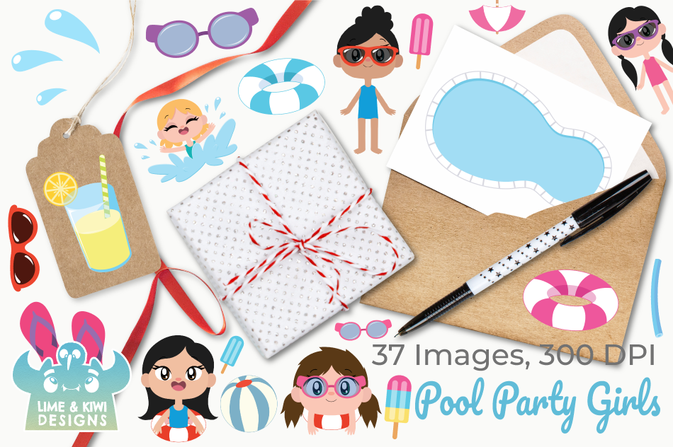 Pool Party Girls Clipart, Instant Download Vector Art example image 4