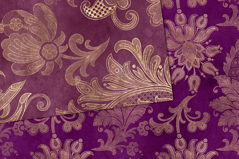 Purple Floral Velvet Digital Paper example image 2