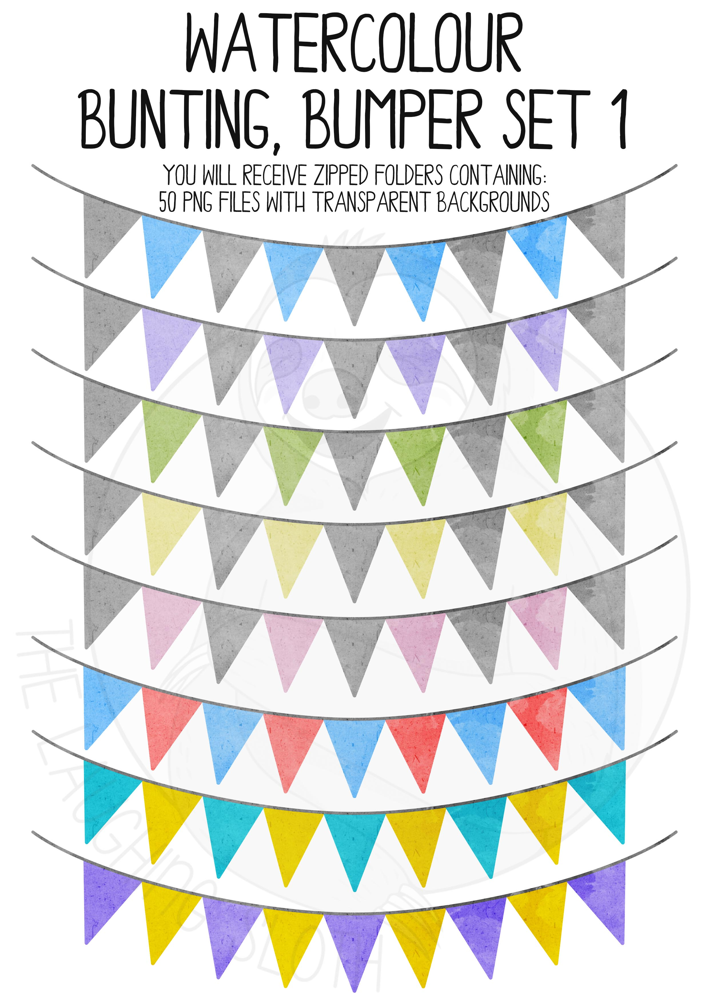Watercolor Bunting Bumper Clipart Set example image 4