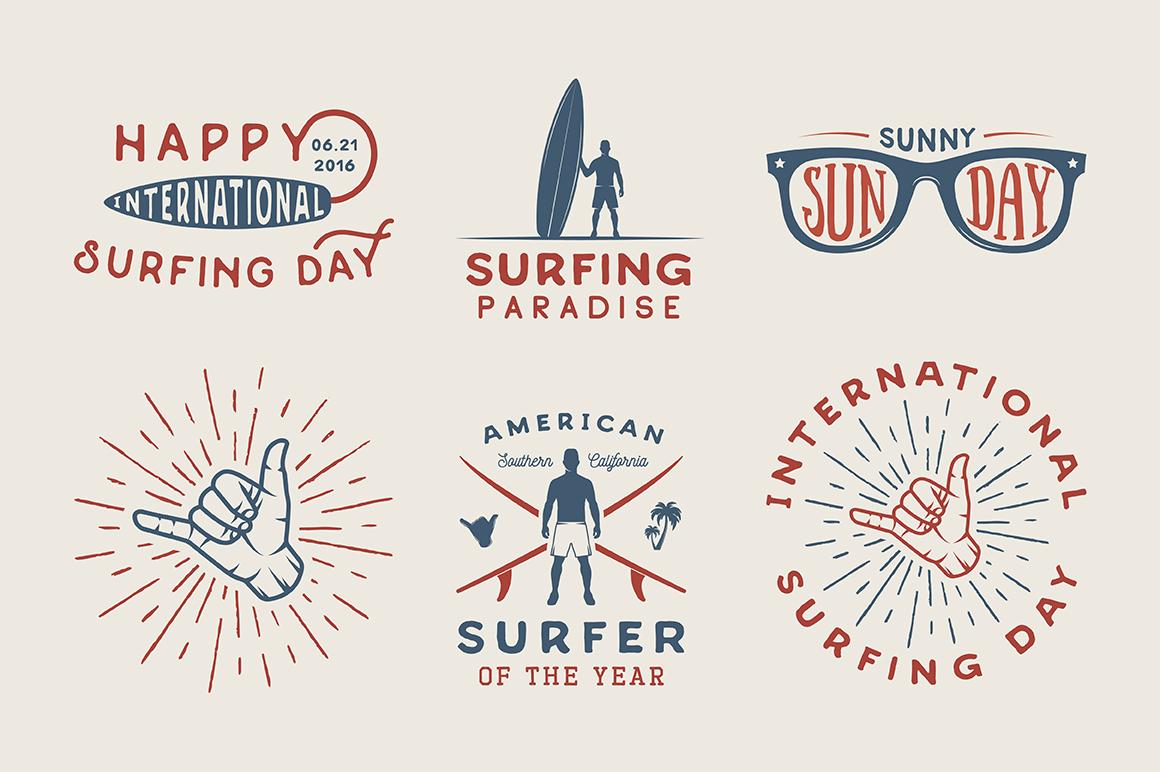 Vintage Surfing Emblems Bundle example image 5